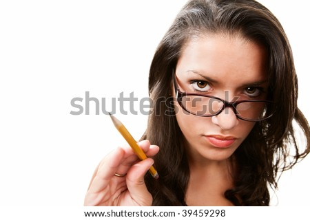 Pretty Hispanic woman in glasses pointing with yellow pencil