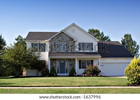 Pretty home in the suburbs. - stock photo