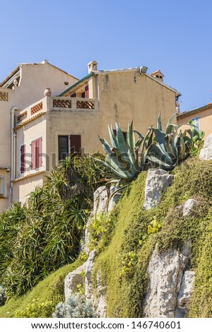 Pretty house in Antibes. Antibes is a resort town in the Alps-Maritimes department in southeastern France between Cannes and Nice, Cote d'Azur. - stock photo