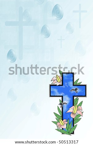 Pretty illustration with Easter lilies ,eggs and cross over blue and white background .Great holiday stationary template with lots of room for text. - stock photo