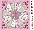 Pretty in Pink graphic quilt square with faux gems and faux threading - stock photo