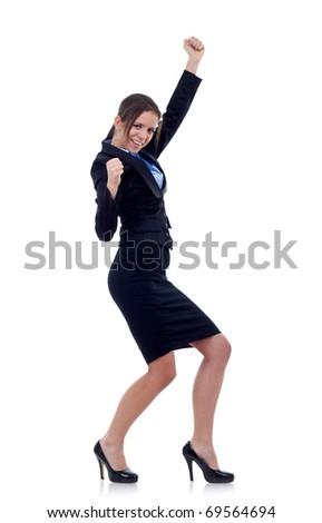 Pretty joyous business woman celebrating success over white background - stock photo