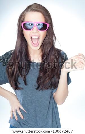 Pretty lady gesturing - stock photo