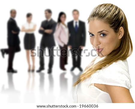 pretty lady standing near business group on an isolated white background - stock photo
