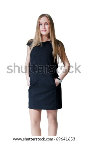 Pretty lady wearing fashionable dress. Fresh new young face. Studio shot, isolated. - stock photo