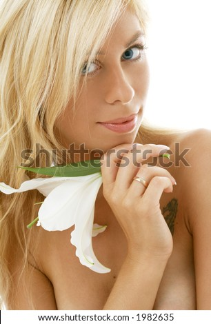 pretty lady with madonna lily over white background