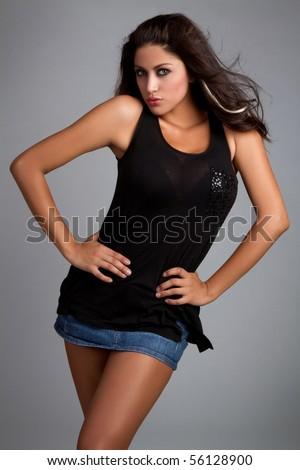 Pretty latin girl model posing - stock photo