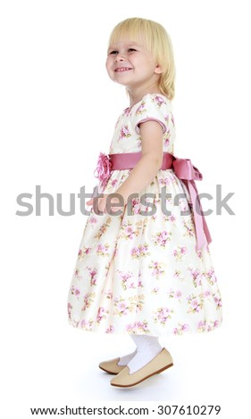 Pretty little blonde girl dressed in Princess dress-Isolated on white background - stock photo