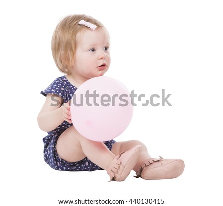 pretty little caucasian girl on white isolated background