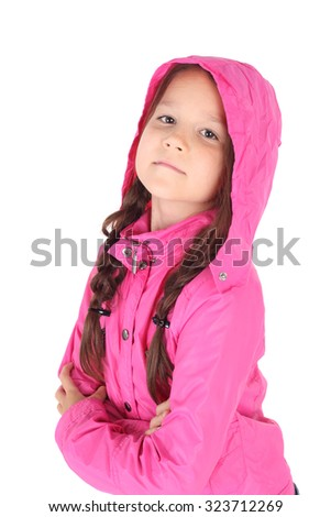 pretty little child in the pink jacket