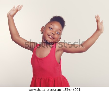 Pretty little girl age 4 dancing. - stock photo