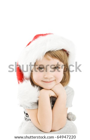 Pretty little girl dressed like a santa claus - stock photo