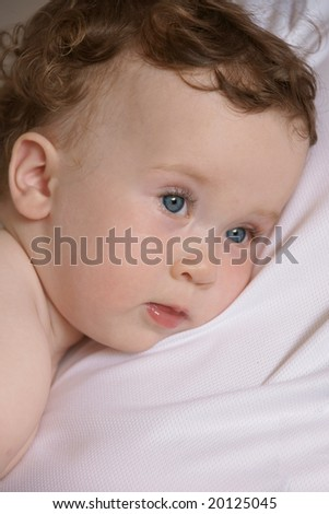 pretty little girl going to sleep - stock photo