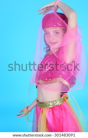 pretty little girl in the costume of the eastern beauty
