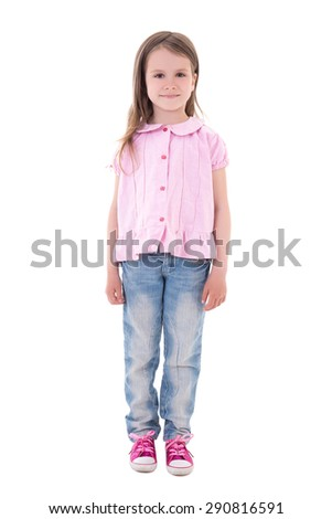 pretty little girl isolated on white background - stock photo