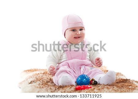 pretty little girl on a white background