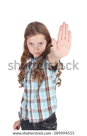 pretty little girl requiring stop with her hand