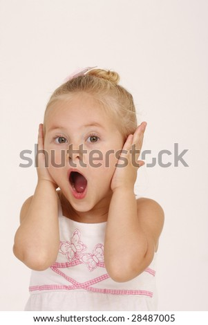 Pretty little girl screaming - stock photo