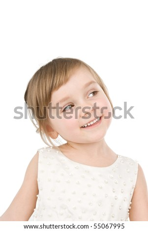Pretty little girl smiling isolated on white. - stock photo