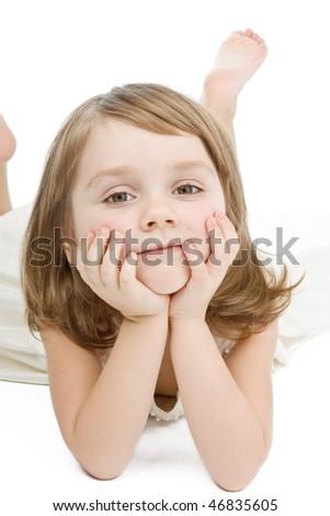 Pretty little girl smiling on white. - stock photo
