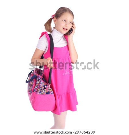 pretty little girl speaking by mobile phone