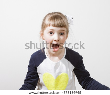 Pretty little girl very surprised, white background - stock photo