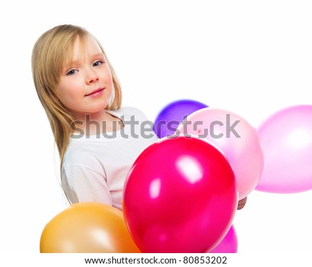 Pretty little girl with balloons over white