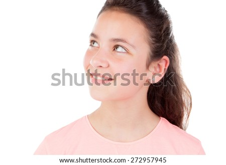 Pretty little girl with blue eyes isolated on a white background - stock photo