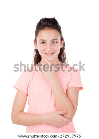 Pretty little girl with blue eyes thinking isolated on a white background - stock photo