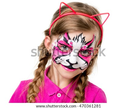 pretty little girl with brightly painted face like animal isolated on white background
