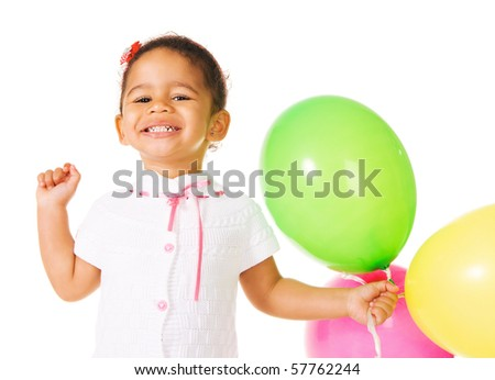 Pretty little girl with colorful balloons on white background - stock photo
