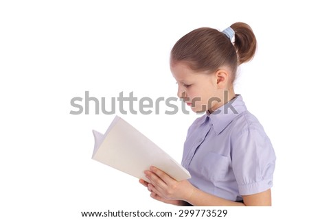 pretty little girl with the book - stock photo