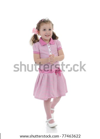 Pretty little princess girl in pink dress. isolated - stock photo
