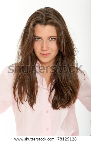 Pretty long haired brunette with a shirt