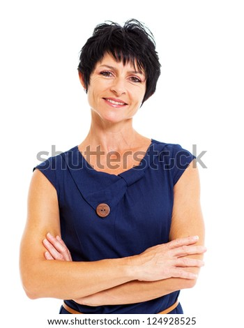 pretty mature woman portrait isolated on white - stock photo