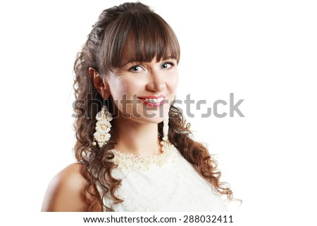 pretty middle aged woman portrait on white