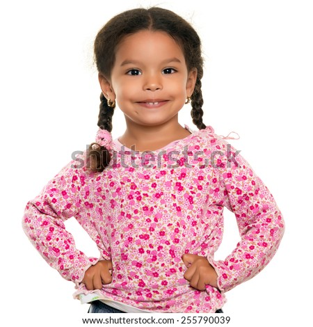 Pretty mixed race small girl isolated on a white background - stock photo