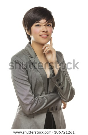 Pretty Mixed Race Young Adult Female Smiles Isolated on a White Background. - stock photo