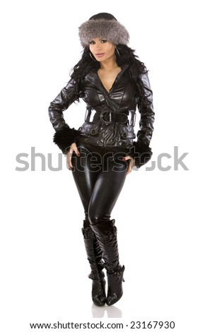pretty model wearing leather outfit on white background