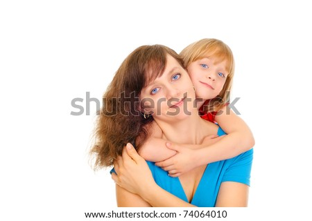 Pretty mom with cute daughter - stock photo