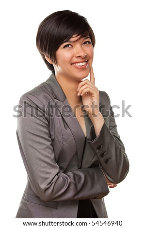 Pretty Multiethnic Young Adult Laughing with Eyes Up and Over Isolated on a White Background. - stock photo