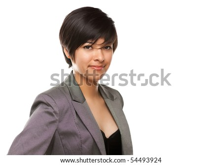 Pretty Multiethnic Young Adult Poses for a Portrait Isolated on a White Background. - stock photo