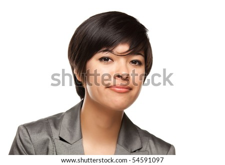 Pretty Multiethnic Young Adult Woman Head Shot Isolated on a White Background. - stock photo