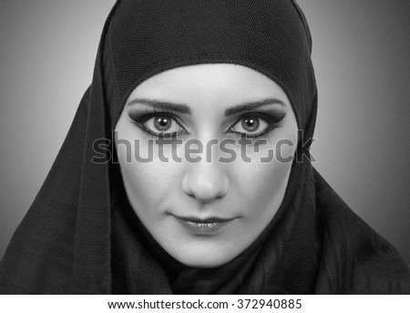 pretty muslim girl portrait - stock photo