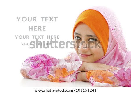 Pretty muslim woman smiling, on white background - stock photo