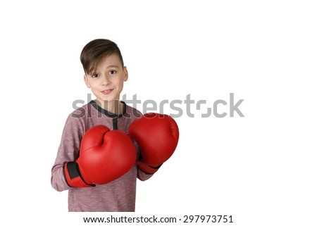 Pretty neat boy in red boxing gloves isolated on white background with copy space for text