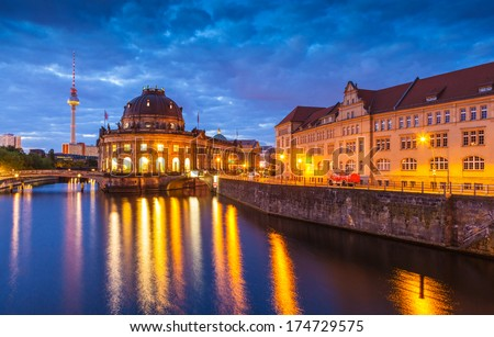 Pretty night time illuminations of the Bode Museum (1904) Berlin, Germany. - stock photo
