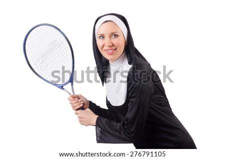 Pretty nun isolated on white - stock photo