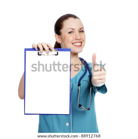 Pretty nurse showing clipboard with white paper sheet, isolated on white background - stock photo