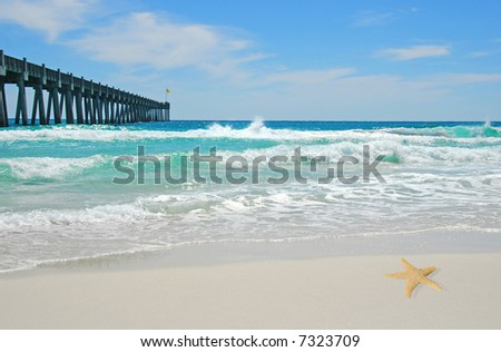 Pretty Ocean Waves with Pier in Distance and Starfish on Beach - stock photo